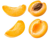 Collection of apricot. Set of fresh apricot fruits cut slices isolated on white background, with clipping path Royalty Free Stock Image