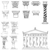 Collection of architectural elements. The illustration is a collection of architectural elements, such as eight capitals, column, temple and four architectural Vector Illustration