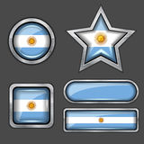 Collection of argentina flag icons Royalty Free Stock Photo