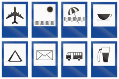 Collection of Argentinian service road signs.  Royalty Free Stock Images