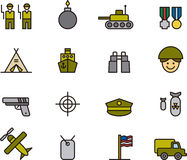 Collection of army icons Stock Photos
