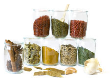 Collection of aromatic spices. In jars stock photography