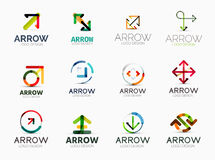 Collection of arrow company logos. Collection of 12 arrow company logotypes, business symbols, icons, concepts stock illustration