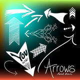 Collection of arrow vector shapes, hand drawn designs Stock Photos