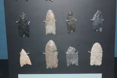 Collection of Arrowheads used by Hopewell culture at Fort Ancient Museum. Fort Ancient Museum displayes the 1500 years of American Indian heritage in the Ohio Royalty Free Stock Image