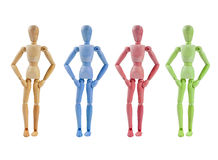 Collection of Artist mannequin in various colors Royalty Free Stock Photo