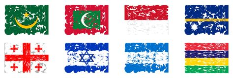 Collection of artistic flags of the world. A set of flags of the world made in an artistic version. The flags represented are: Georgia Honduras, State of israel Royalty Free Stock Photography
