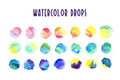 Collection of artistic watercolor drops. Rainbow palette. Expressive color paint spots isolated on white background Stock Photography