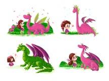Collection artistique tirée par la main de petite fille mignonne et de dinosaure amical avec des éléments de nature Photo stock
