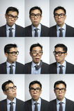 Collection of Asian Man with different expression Royalty Free Stock Image