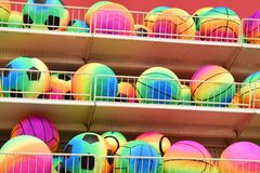 Assorted Colors of all types of bouncing balls. A collection of assorted Colorful bouncing balls of all sports such as soccor basketball volleyball football royalty free stock photo