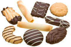 Collection of assorted cookies isolated on white Stock Image