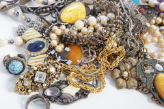 Collection of assorted gemstone jewellery Stock Photo