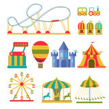 Collection of attractions and amusement park elements stock illustration
