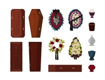 Collection of attributes for funeral, burial ceremony, mortuary rituals isolated on white background - coffin, urn stock illustration
