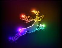 Collection au néon, fond de Noël de renne Images stock