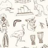 Collection of Australia doodle vector seamless pattern Royalty Free Stock Photography
