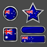 Collection of australia flag icons Royalty Free Stock Photos