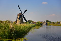 A collection of authentic historic windmills in Kinderdijk, a UNESCO World Heritage site Stock Photos