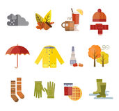 Collection of autumn clothes items Royalty Free Stock Photos
