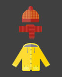 Collection of autumn clothes set items the fall cold weather red yellow colors coat raincoat parka vector illustration Royalty Free Stock Photo