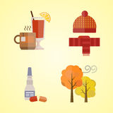Collection of autumn clothes set items the fall leaves tree cold weather red yellow colors hat scarf gloves tea mulled Royalty Free Stock Photos