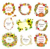 Collection of autumn frames Royalty Free Stock Photo