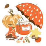 Collection of autumn items like marmalade jar,. Hand drawn set of autumn items like marmalade jar, umbrella, rainy boots, pumpkins and leaves. Vector vector illustration