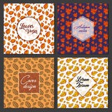 Collection of Autumn Leaves Poster Card Design Vector. Art Stock Photography