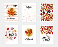 Autumn sale set banners. Vector illustration. Poster, card, label, banner design set. Stock Photos