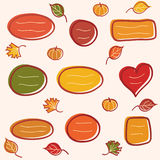 Collection of autumn text frames. Set of frames for text with leaves and pumpkins Stock Illustration