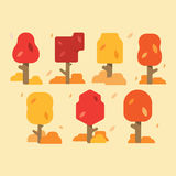 Collection Of Autumn Trees,  On White Background. Simple collection of autumn trees of different shapes. Vector illustrati Stock Photos