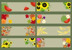 Collection of autumnal horizontal banners Stock Images
