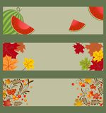Collection of autumnal horizontal banners with watermelon, ashberry and maple leaves Royalty Free Stock Photos