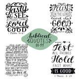 Collection 11 avec le vers de bible savoureux et voir Confiance dans le seigneur et faire du bien Examinez toutes les choses Temt illustration libre de droits