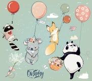 Collection avec les animaux mignons de mouche d'anniversaire avec des ballons illustration libre de droits