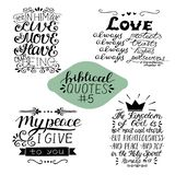 Collection 4 avec 4 vers de bible Ma paix que je te donne Amour toujours Le royaume des cieux illustration de vecteur