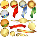 Collection awards with ribbons Royalty Free Stock Images