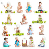 Collection of babies and kids eating apples. Set of babies and kids eating apples, on white royalty free stock photography