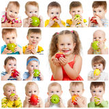 Collection of babies and kids eating apples. Isolated on white stock photos