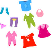Collection of baby and children clothes collection. Royalty Free Stock Image