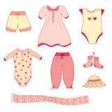 Collection of the  baby girl clothes Stock Images
