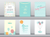 Collection of  baby shower invitation card ,Vector illustrations Royalty Free Stock Photo