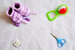 Collection of baby things, top view Stock Photo