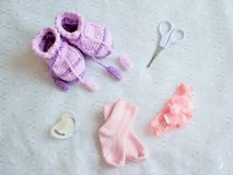 Collection of baby things, top view Royalty Free Stock Image