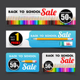 016 Collection of back to school sale with color pencil element. Collection of back to school sale with pencil element tag banner promotion sale discount style Stock Image