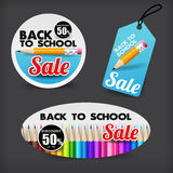 017 Collection of back to school sale with color pencil element. Collection of back to school sale with color pencil element tag banner promotion sale discount Stock Illustration