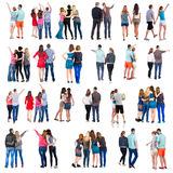 Collection Back view of group people. set stock photography