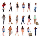 Collection  back view of walking people . Stock Photo