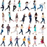 Collection  back view of walking people . Royalty Free Stock Photo